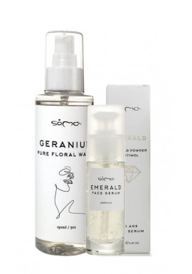 Soma Botanicals Geranium Floral Water + Emerald Face Serum
