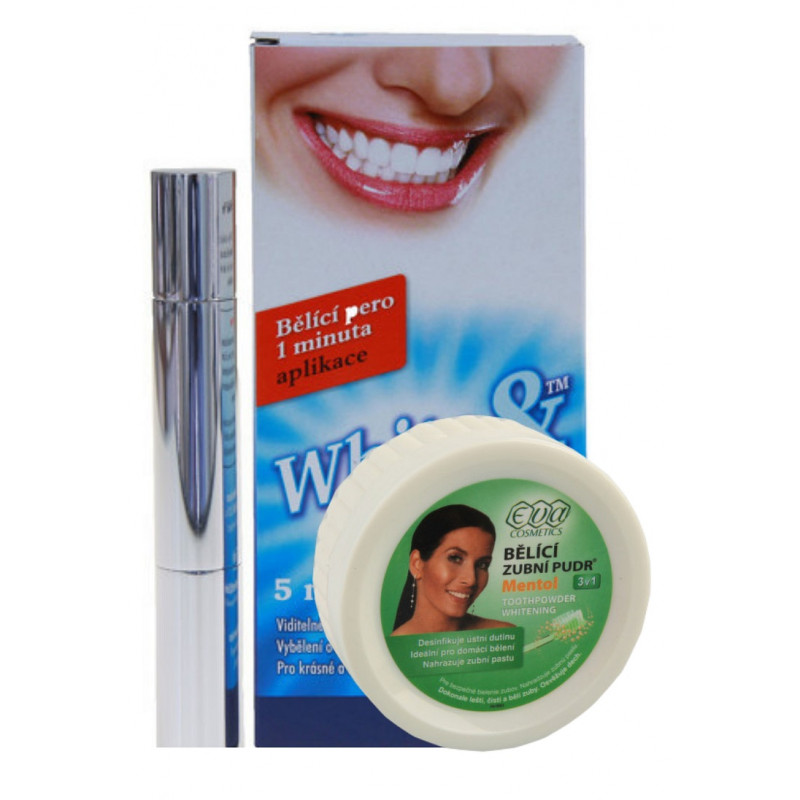 Eva Cosmetics Whitening Pen 5ml + Whitening Toothpowder Mentol